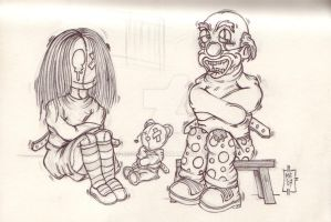 Betty and the evil Clown by MsGothje