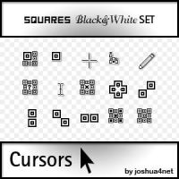 Squares B and W Cursors SET by joshua4net