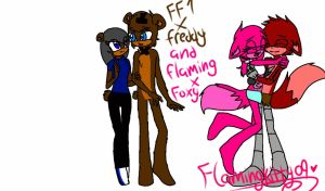 ff1 x Freddy and me x foxy by flamingkitty09