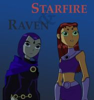 Raven and Starfire by TheNumberD