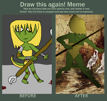 Draw this again - Then and Now, Jess of TMNT by Poison2007