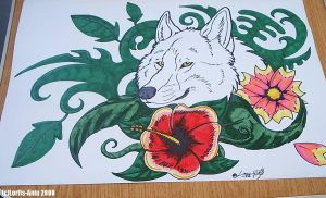 White Fox-Wolf and Plants by Lorfis-Aniu
