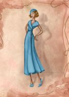 1930s Costume Inspired Fashion Illustration by BasakTinli