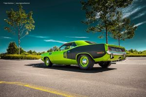 Sassy Grass Green 1971 Plymouth Cuda 440+6 by AmericanMuscle