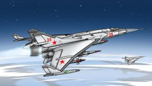 MiG-45 'Flashbar' Interceptor by Artraccoon