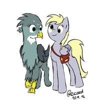 Mailmare Derpy and Mailgriffon Gabby by RecDrawStudio