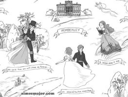 Pride and Prejudice Toile Fabric by aimeekitty