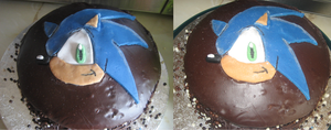 My Mum made me a Sonic cake! by HedgeCatDragonix