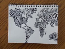 World Map Zentangle by createwithcolor