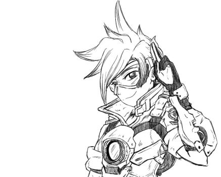 Overwatch - Tracer sketch by Kampfkex