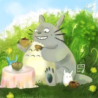 Totoro Tea Party by Flutter-Butter