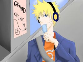 naruto with headphones by ramennnoodles1
