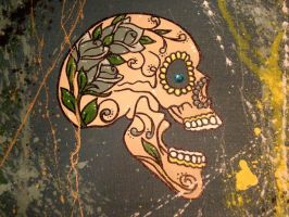 Teal Sugar Skull by aliceclark
