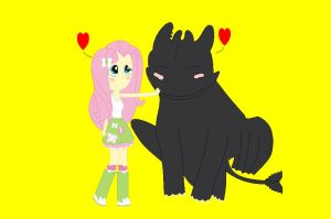 Fluttershy and Toothless by Flutterlove12345