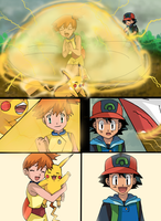 Pokemon Fusion Scene: Pikachu Learns Thunderdome by hikariangelove