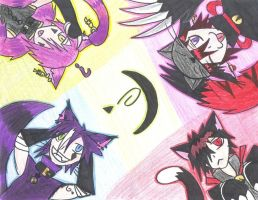 Lovely bunch of cheshire cats by annathewerewolf