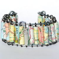 Map Paper Bead Bracelet by Tanith-Rohe