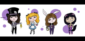 Roger in Wonderland Chibis by MercuryDeacon
