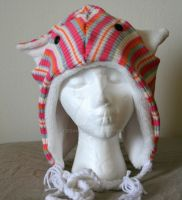 Pink Striped Cat Hat by Tzigana