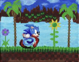 Pixel Art :: Sonic on the Move by DodgeBall
