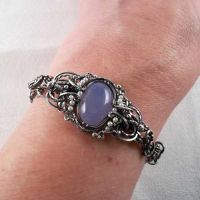 Samantha Claire Bracelet in Blue Mist Agate by Wiresculptress