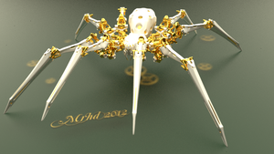 golden mechanical spider by mrhd