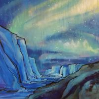 Aurora Australis and the Icebergs by draweverywhere