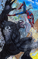Spiderman VS Venom by matsuyama-takeshi