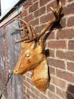stag head wood carving by Simon patel by simondrawme