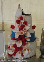 calla lily and rose cake by cake-engineering