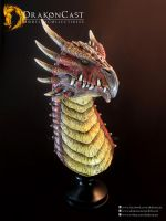 Spined Dragon bust 3 - painted by drakoncast