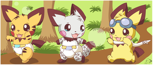 Pichus playing tag by pichu90