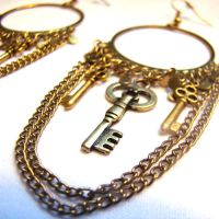Gypsy Skeleton Key Earrings by SteamSociety