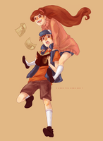 Dipper and Mabel by CarrotCakeBandit
