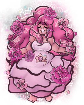 Rose Quartz Flower Print by lgrussom