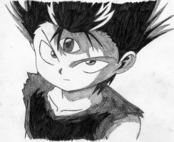 Penciled Young Hiei by Hieiskittygirl