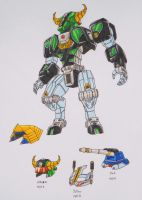 ZEO MEGAZORD revisited: green and helmets by kishiaku