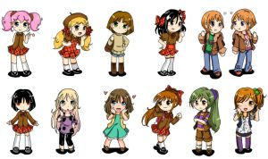 Chibi Girls And Boy by AlineSM