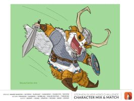 March Hero Challenge: guinea pig pouncing viking by prolificlifeforms