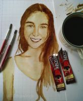 julia barretto coffee painting by Arthur T. Co by ATCdrawings