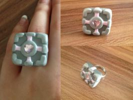 Companion Cube Ring by oOCrazyKittyOo