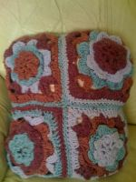 Granny Square Couch Pillow (side b) by lovechairmanmeow