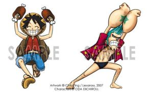 OP - SD Luffy and Franky by lexaross