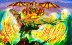 Dragons- The Epic Battle by silver-moonwolf
