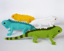 Green iguana color morphs by LunasCrafts