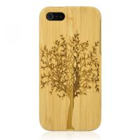 Hand Carved Bamboo iPhone 5 Case-Tree by tracylopez