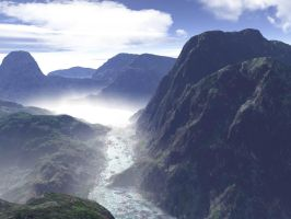Misty Mountain River by esheafer