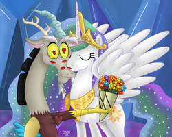 Request - Celestia kissing Discord by Oggynka
