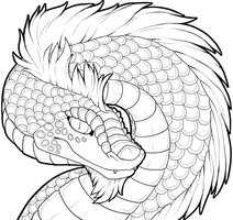Dragon Lineart- Collab with Catbread-Rainbows by Lucieniibi