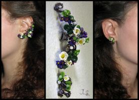 Floral ear cuff and stud May morning by JSjewelry